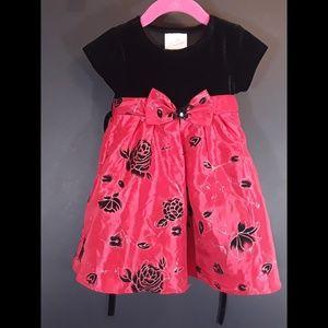 Little Girl La Princess Red and Black Velvet Dress
